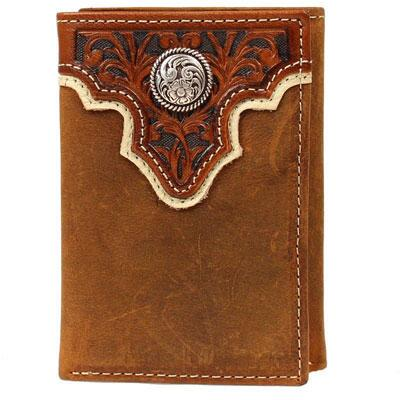 Ariat Trifold Mens Light Brown Wallet with Tooled Overlay