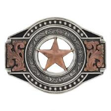Montana Attitude Tri-Color Lone Star Belt Buckle - TB