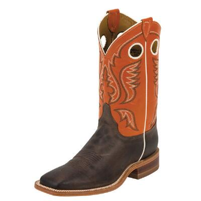 Justin Bent Rail Chocolate American Cow Mens Western Boot