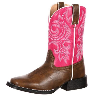 Durango Lil Partners Brown and Pink Kids Western Boot