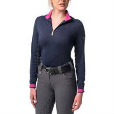Kastel Ladies Signature Quarter Zip Navy with Fuchsia Sun Shirt - TB