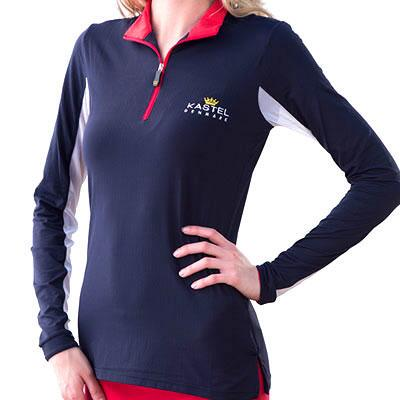 Kastel Ladies Signature Quarter Zip Navy with Red Sun Shirt