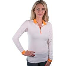 Kastel Charlotte White/Orange Long Sleeve Ladies Shirt - TB