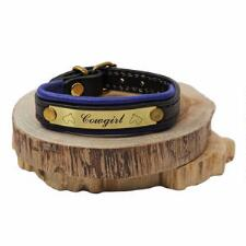 Cowgirl Padded Leather Bracelet With Nameplate - TB
