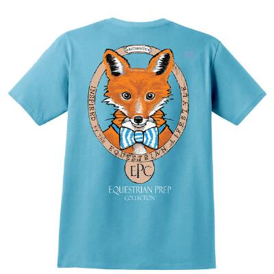 Stirrups Preppy Fox Light Blue Ladies Tee