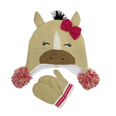 Farm Girl Horse Hat and Mitten Youth Set