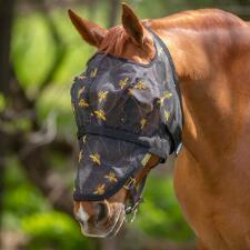 Mackey Equine BEE MINE Fly Mask No Ears with Detachable Nose - TB