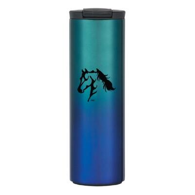 Ombre Stainless Steel Travel Tumbler with Horse Design 16 oz