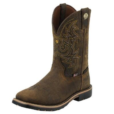 Justin George Strait Fireman Coffee Mens Western Boot
