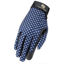 Heritage Performance Ladies Riding Glove - Navy Polka Dot - TB