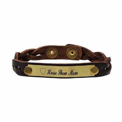 Horse Show Mom Braided Leather Bracelet With Nameplate