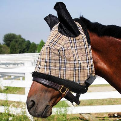 Traditional Plaid Fly Mask - Protective Mesh