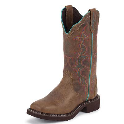 Tan Jaguar Square Toe Ladies Western Boot