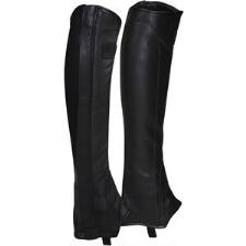 Smooth Out Leather Half Chaps with Stretch Panel
