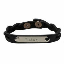 Love Braided Leather Bracelet With Nameplate - TB