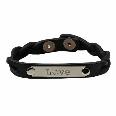 Love Braided Leather Bracelet With Nameplate