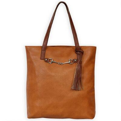 Equestrian Tote Style Handbag with Bit Accent - Brown