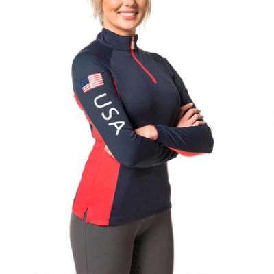 Kastel Ladies Navy with Red USA Colorblock Sun Shirt