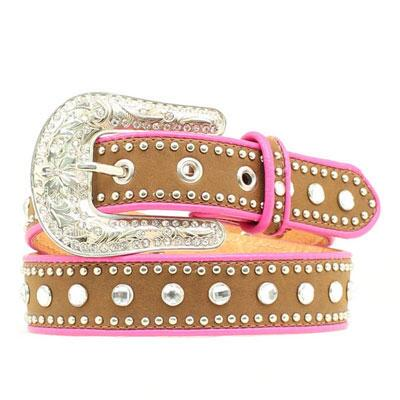 Blazin Roxx Pink Piped Crystal Studded Girls Belt