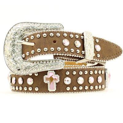 Blazin Roxx® Pink Crystal and Cross Studded Girls Belt