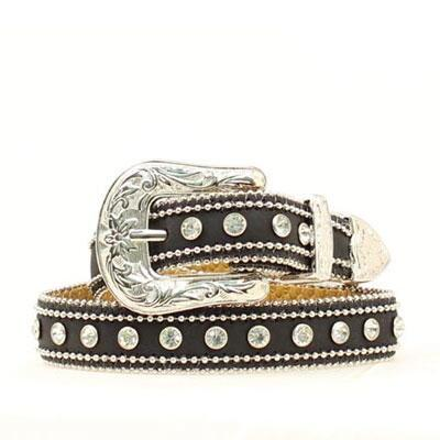 Blazin Roxx Double Ball Chain Rhinestone Girls Belt Black
