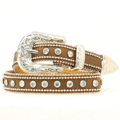 Blazin Roxx Double Ball Chain Rhinestone Girls Belt Brown