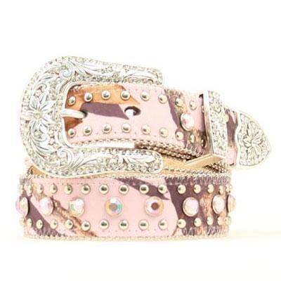 Belt Girls Pink Mossy Oak With Crystals