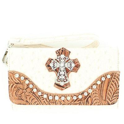 Wallet Ladies Ostrich Print White