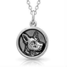 Montana Silversmiths Happy Tails German Shepherd Necklace - TB