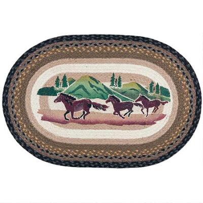 Capitol Earth Rugs Horse Mountain Scene Oval Braided Rug