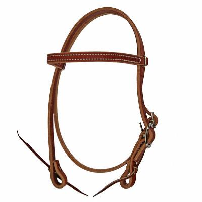 Harness Leather Pony Headstall w/ Water tie bit ends