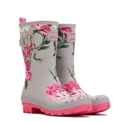 Joules Cool Grey Floral Ladies Molly Welly