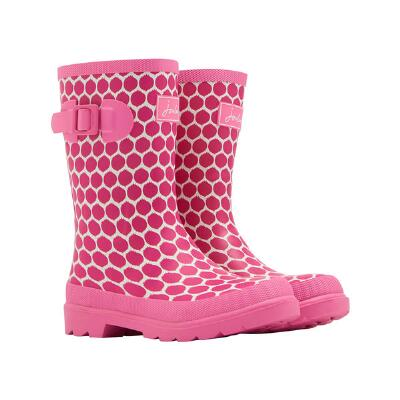 Joules JNR Welly Pink Spot Girls Rubber Boot