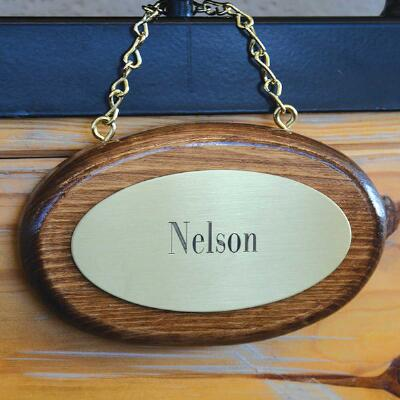 Oval Wood with Engraved Brass Plaque