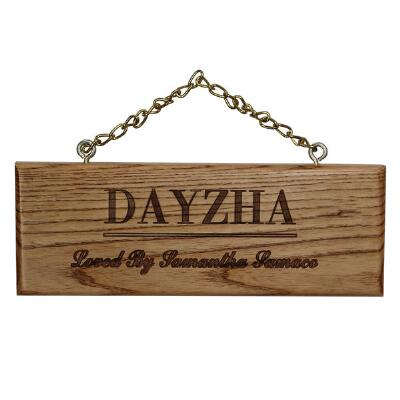 Custom Engraved Wood Plaque with Name Only