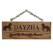 Custom Engraved Wood Plaque with Name and Horses - TB