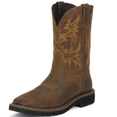 Original Rugged Tan Cowhide Western Mens Work Boot