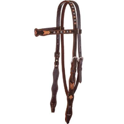 Circle Y Copper Buckstitch Rough Out Browband Headstall