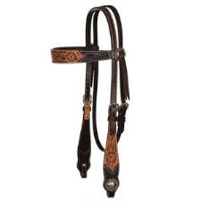 Circle Y Multi-Tone Floral Tool Browband Headstall - TB